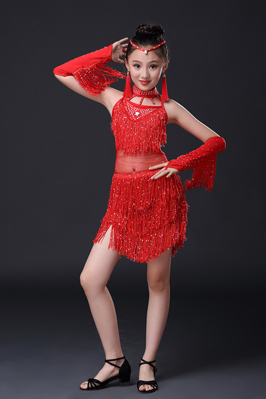 Children dance tassel dress girl ballet suspender dress Latin dance performance clothing Girls performances summer Vestidos 03<br>
