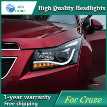 Auto Clud for chevrolet cruze headlights 2009-2014 for chevrolet cruze led angel eyes light bar DRL Q5 bi xenon lens car styling(China)