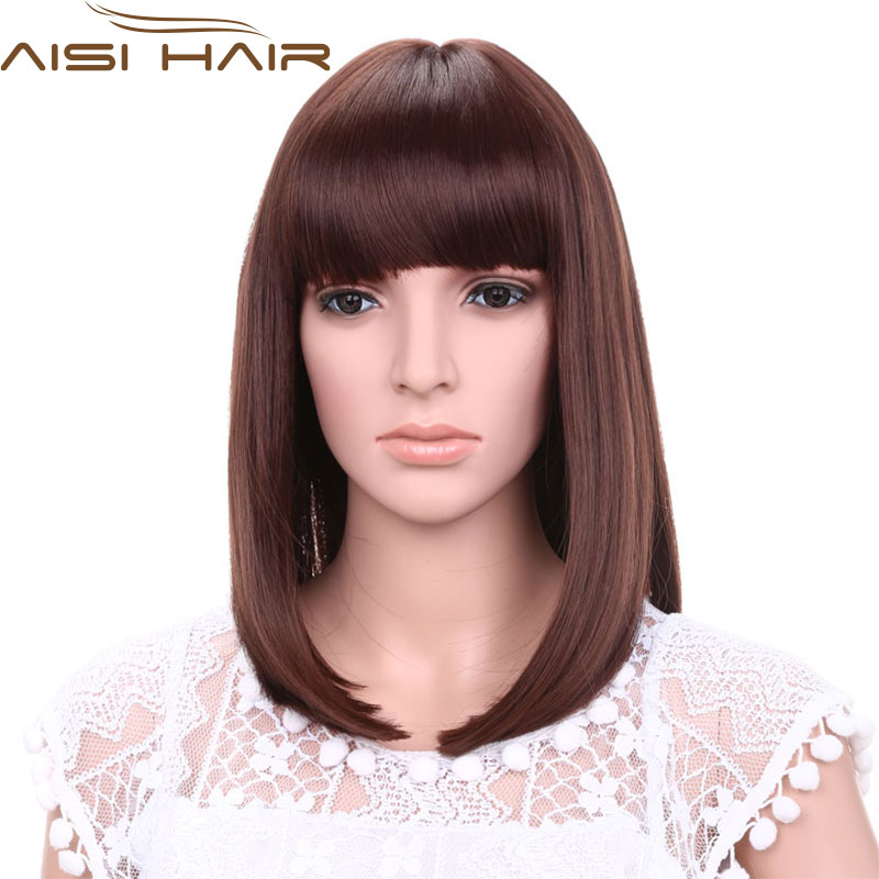 16 Cheap Fashion Brown Long Straight Hair Bangs Wigs Lifelike Cosply Heat Resistant Synthetic Wig Quality African American Wigs<br><br>Aliexpress