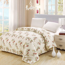 Hot sale luxury white Pink Flowers Print Bedding 100% Cotton Bed duvet cover twin full Queen King Size adult girl gift textile(China)