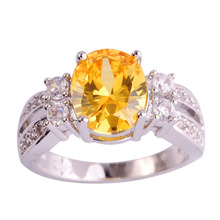 Factory direct sale Jewelry Yellow CZ Silver Fashion Crystal Ring  Size 6 7 8 9 10 11 Free Shipping Wholesale