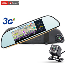 Junsun 3G 7 inch Car GPS Navigation Android Rearview Mirror Car DVR Camera WIFI Bluetooth automobile sat nav navigator free maps
