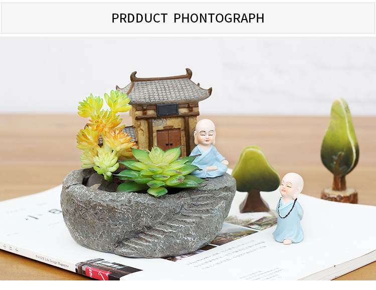 YXYT Buddha Head Planter ornament White Zen Ceramic Flower Pot for Succulents Plants Buddha face Statue Fengshui decor (1)