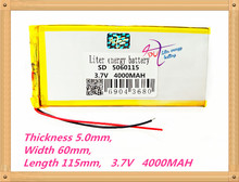 5060115 3.7V 5000MAH Polymer rechargeable Lithium Li Battery For GPS ipod PSP Tablet PC Mobiles Backup Power(China)