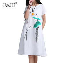 New Fashion 2016 Summer Arts style Womens Short sleeve Long Dress High Quality Ink Printing cotton linen Vintage Dress E610