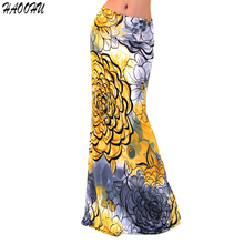 Hot Sale Women 2016 Summer Europe Style Long Skirt yellow flower printed Casual Maxi Beach Bikini Floor Length Skirt 94002 DX