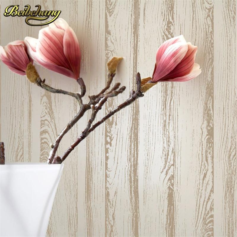 beibehang Detail White Wooden Plank Textured Light Flocking Non woven Wallpaper Wallpaper Roll Living Room Background Wall Decor<br>