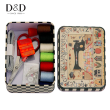 D&D 2017 Portable 52pcs/Set Travel Home Sewing Kits Box Needles Threads Scissor Thimble Cross-Stitch Accessories 13.7*9.6*4.8CM(China)