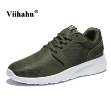 Viihahn Mens Outdoor Athletic Sport Sneakers Spring And Summer Breathable Mesh Upper Lace Up Black Gray Light Running Shoes