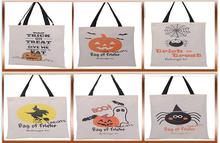 100pcs 2016 New Halloween Sacks Candy Gifts Bag Treat / Trick Drawstring Bag Cotton Canvas 6 Styles Kids Pumpkin Spider Tote Bag