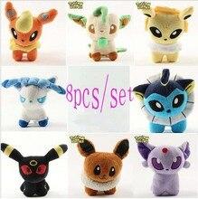 8 pieces / lot 6 '' Pikachu Umbreon Eevee Espeon Jolteon Vaporeon Flareon Glaceon Leafeon Plush toys