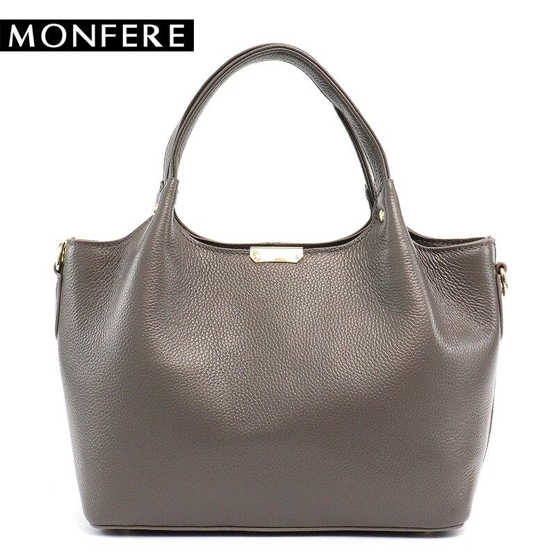 MONFERE 100% Genuine Leather Bucket Bag Women 2018 casual top-handle Shoulder Bags Brand Designer Ladies Crossbody messenger Bag<br>