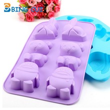 6 Cups Cute Animals Shape Silicone Fondant Mould Cake Chocolate Mold DIY Easter Bunny Cake Decorating Tools CT260(China)