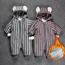 new fashion 0-3 years old spring autumn winter Infant Cute young girls boys zipper Rompers clothes baby striped jumpsuits(China)