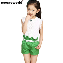 The New 2017 Summer Girls Fashion Costumes Girl Clothing Sets Lace White Blouses+ Red,Rose,Green Shorts  Set Kids Clothes Sets