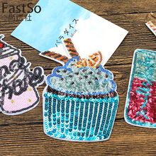FastSo 1 Pcs 3D Stickers Big Patches Brand Shine Sequin Embroidery Iron On Motif Applique Garment Kids Women DIY Clothes Badge