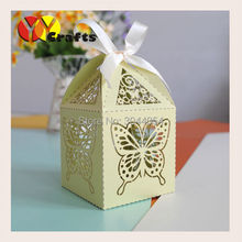 big green butterfly festival decoration laser cut wedding cake box with very cheap price(China)