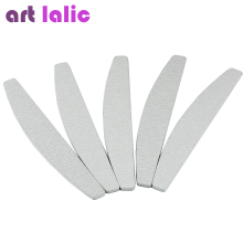 Artlalic 5 Pcs/Set White Nail Files Sanding 18*3cm Moon Shape Tips Manicure Pedicure Buffer Tools HOT(China)