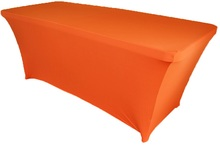 10Pcs Orange 8ft Square Strenth Spandex Table Covers Banquet Tablecloths For Wedding Party Banquet Decor Free Shipping