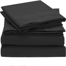 Bedding Set Fitted sheet Flat sheet Pillowcase 3/4pcs US Size Solid Twin Full Queen King California King Bed sheet Set black(China)