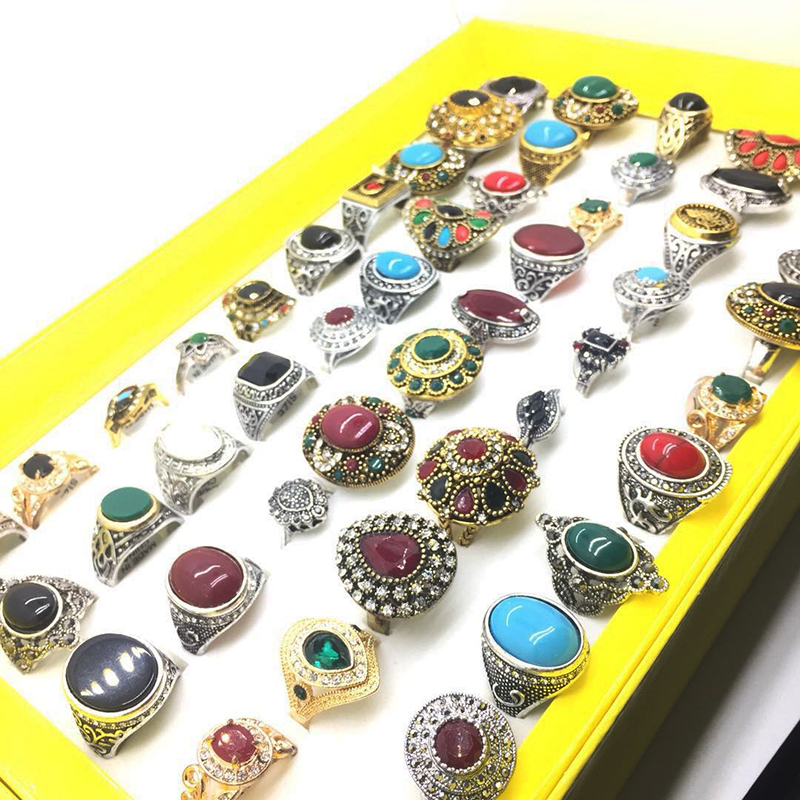 MIXMAX 50pcs mixed gold vintage ring women men unisex colorful beautiful Individuality retro alloy jewelry wholesale lots bulk