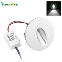 Cool White Led Wall Lamp 1W Round LED Recessed Porch Pathway Step Stair Light Wall Lamp Basement Bulb AC 85-265V
