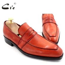 cie Free Shipping Bespoke Goodyear Welted Handmade Men's Calfskin Outsole Orange Brown Loafer Penny Loafer Shoe No.Loafer 25(China)