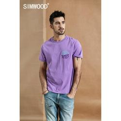 SIMWOOD 2019 летняя новая футболка Мужская винтажная промытая 100% хлопковая Футболка с буквенным принтом модные высококачественные Топы больших ...