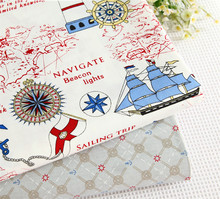 40*50cm choose color 100% cotton fabric Sailing boat  lighthouse  boy child bedding  DIY  Sewing patchwork  cotton fabric quilt