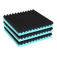 6Pcs/Lot 30 * 30 * 2.5cm Blue/Black Acoustic Wedge Soundproofing Studio Foam Tiles Using polyurethane foam material Hot Sale(China)
