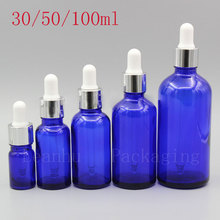 Empty Blue Glass Essential oil Bottles,Beauty &Skin Care Essential oil,Elite Fluid Makeup Containers,Cosmetic Packaging Dropper