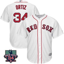 MLB Men's Boston Red Sox Roger Clemens Davids Ortiz 34 Retirement Patch Baseball Player Jersey 4 Colors(China)
