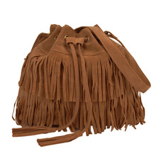 2016 Retro Faux Suede Fringe Women Bag Messenger Bags New Handbag Tassel Shoulder Handbags Drawstring Crossbody Gift