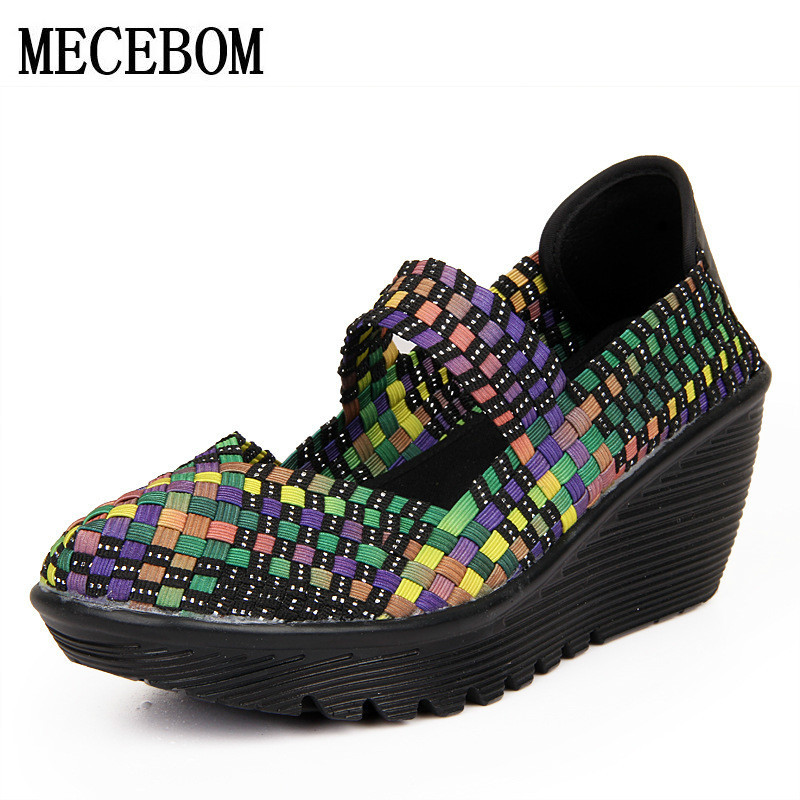 Women Casual Shoes 2018 Summer Breathable Handmade Women Woven Shoes Fashion Comfortable LightWeight Wovening Women Shoes 889W(China)