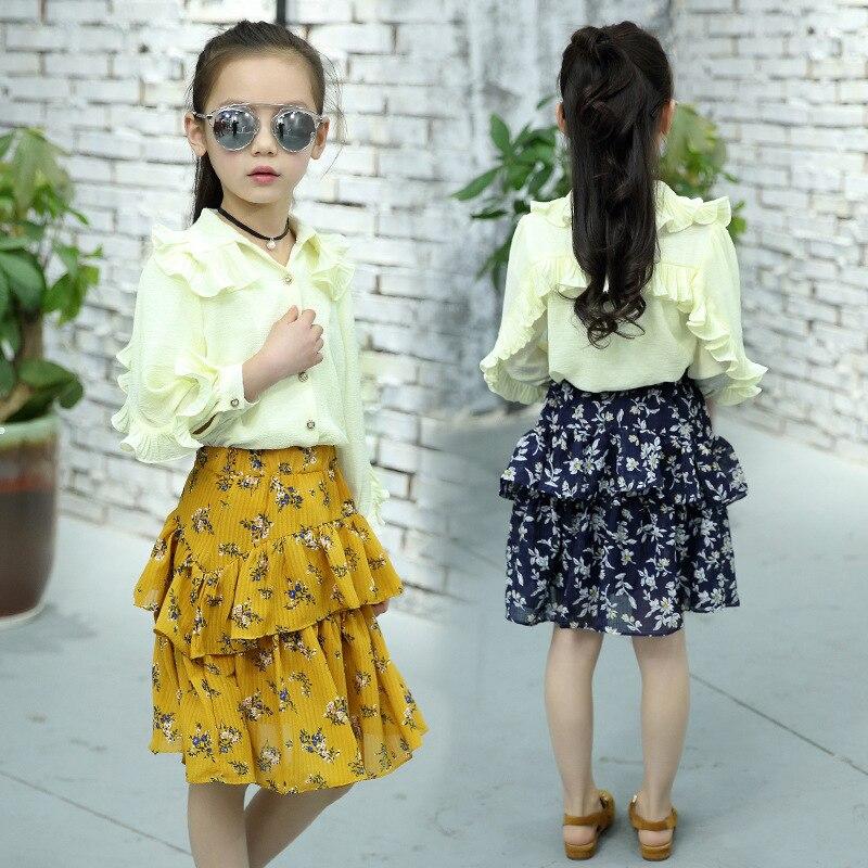 Korean Girl Chiffon Lotus Leaf Edge Shirt + Skirt Twinset Child Spring Suit 2 Pieces Kids Clothing Sets<br>