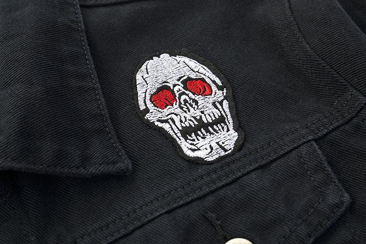 Embroidery Rose Skull Denim Jackets 3