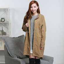 Women's Trench Coat Zipper Spring Autumn Casual Solid Long Loose Outwear Dust Coat Plus Size Long Sleeve Overcoat(China)