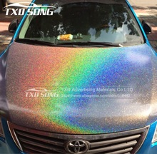 12/30/50/60CM X 100CM/LOT High glossy Chameleon rainbow vinyl sticker Colorful glitter shiny wrap film with air free bubbles