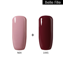 Belle Fille Nude Gel Nail Fingernail Polish Rose Red Wine Varnish for French Manicure Varnish Soak Off Yellow Color Gold UV Gel(China)