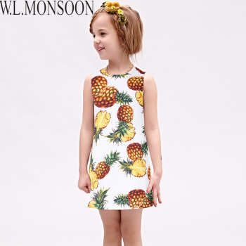 W.L.MONSOON Girls Summer Dresses with Pineapple Print 2017 Brand Toddler Dress Children Princess Costume Robe Fille Kids Clothes