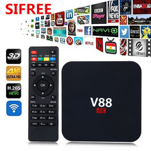 SIFREE V88 4K Android 6.0 Smart TV Box Rockchip 1G/8G 4 USB 4K 2K WiFi Full Loaded Quad Core 1.5GHZ Media Player PK S912 X96 K2
