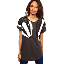 Women Loose Long T-shirt Animal Swan Badger Print O Neck Summer Fashion T Shirt Female Short Rolled Sleeve Casual Pullover Tops(China)