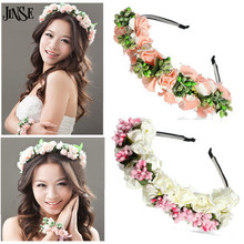 JINSE Bride Floral Crown Rose Flower Headband Hair Garland Headdress Wedding Party Hairbands Boho Prom Head Wrp CR164(China)