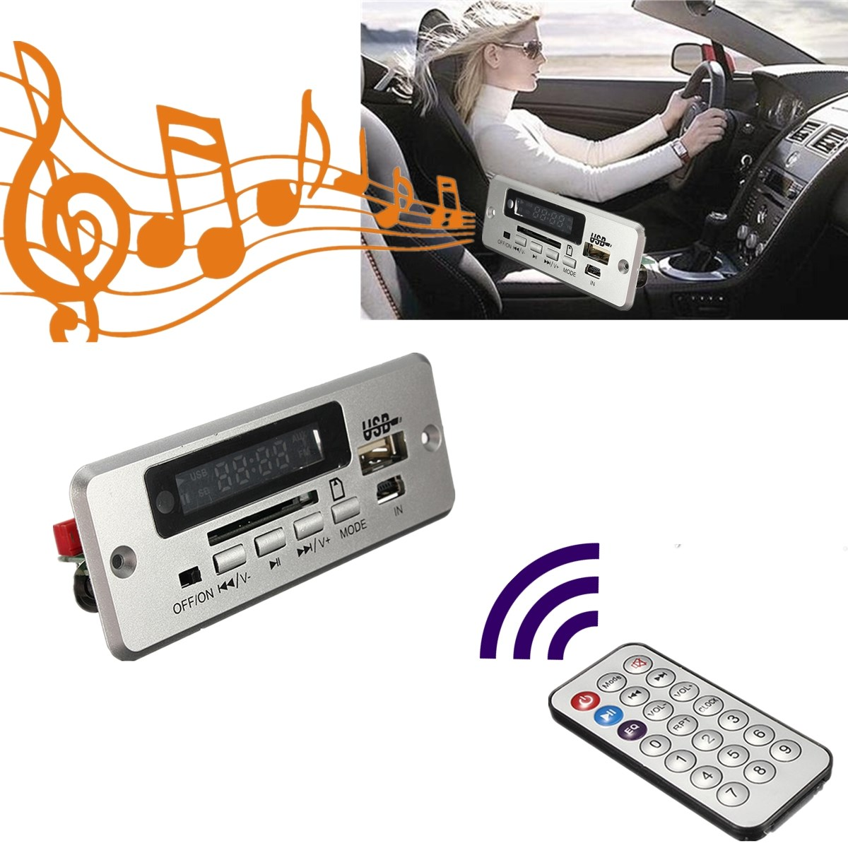 Red Digital LED Display DC 5v USB TF Radio MP3 Decoder Board Wireless Audio Module For Car With Remote controller DIY Modules(China)