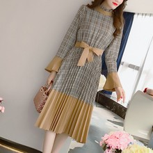 Buy KYMAKUTU Elegant Pleated Dress Fashion Patchwork Jurkjes O Neck Long Sleeve Womens Dresses Belt Match Vestidos Mujer for $29.99 in AliExpress store