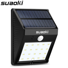 Suaoki Solar Motion Sensor Light 20 LED 800mAh Rechargeable Battery Dim/Bright Lighting Mode Auto On/Off Waterproof Weatherproof