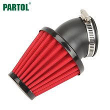 Partol Motorcycle Air Filter 48mm Universal Red Air Cleaner Intake Filter For Scooter Chopper Cruisers ATV Moto Bike(China)