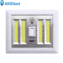 AKDSteel Portable Multifunction Wireless COB LED Wall Lamp Switch Battery Operated Night Light Bedroom Closets Basement Hallway