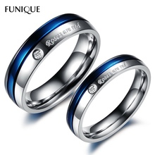 FUNIQUE Stainless Steel Ring Couple Rings Print Ross Are Red Carved Rhinestone Rings For Lovers Engagement Wedding Jewelry 1PC