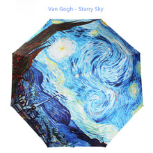 Starry Sky Umbrella Three Folding Parasol Flowers Elk / Bird Paradise Sun Rain Umbrella